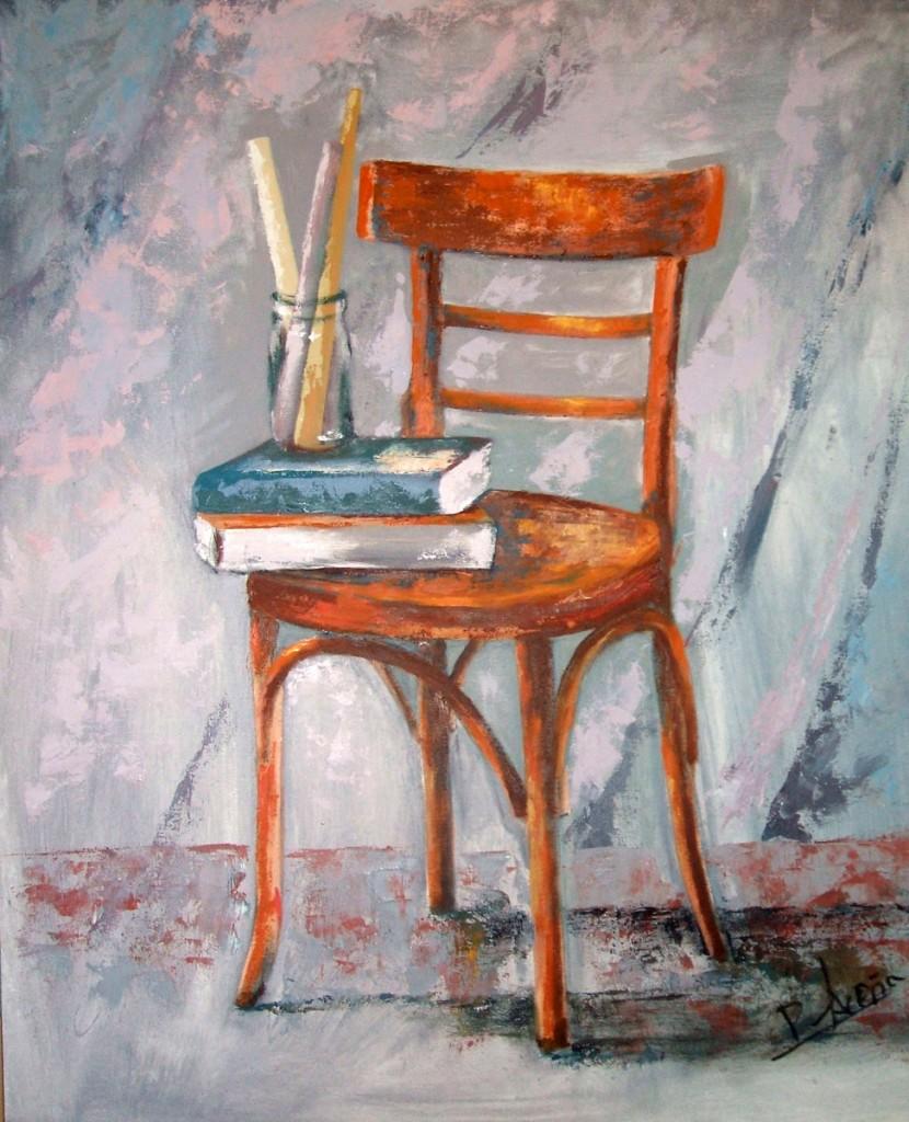 Silla con libros. Pilar Aceña, óleo sobre tabla. 2006