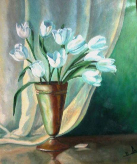 Tulipanes blancos. Óleo sobre lienzo, Pilar Aceña. 2003