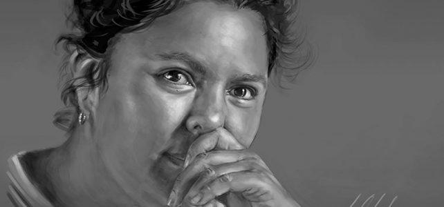 Berta Cáceres. Tableta gráfica, dibujo de Javier Olmedo