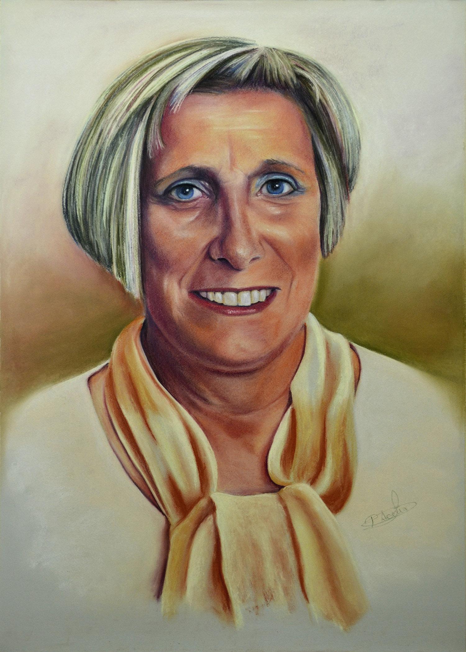 Maricarmen. Pilar Aceña, retrato al pastel, 70 x 50 cm. 2016