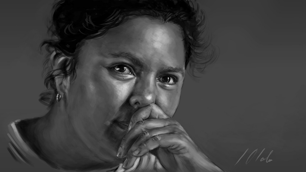 Retrato de Berta Cáceres, tableta gráfica. Javier Olmedo, 2016