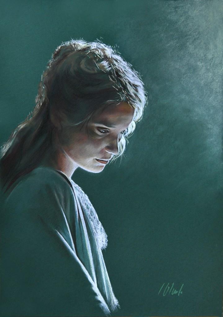 Contraluz sobre fondo verde. Javier Olmedo, pastel. 70x50cm. 2016. PV 165€