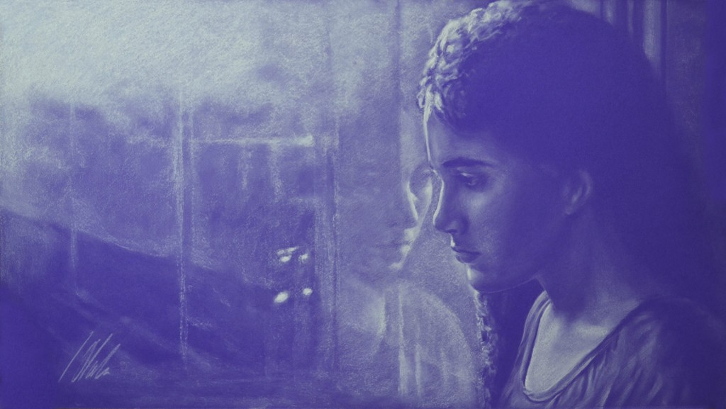 Reflejos.  Javier Olmedo, pastel blanco sobre papel violeta de 70 x 40 cm. Año 2016. PV 135 €
