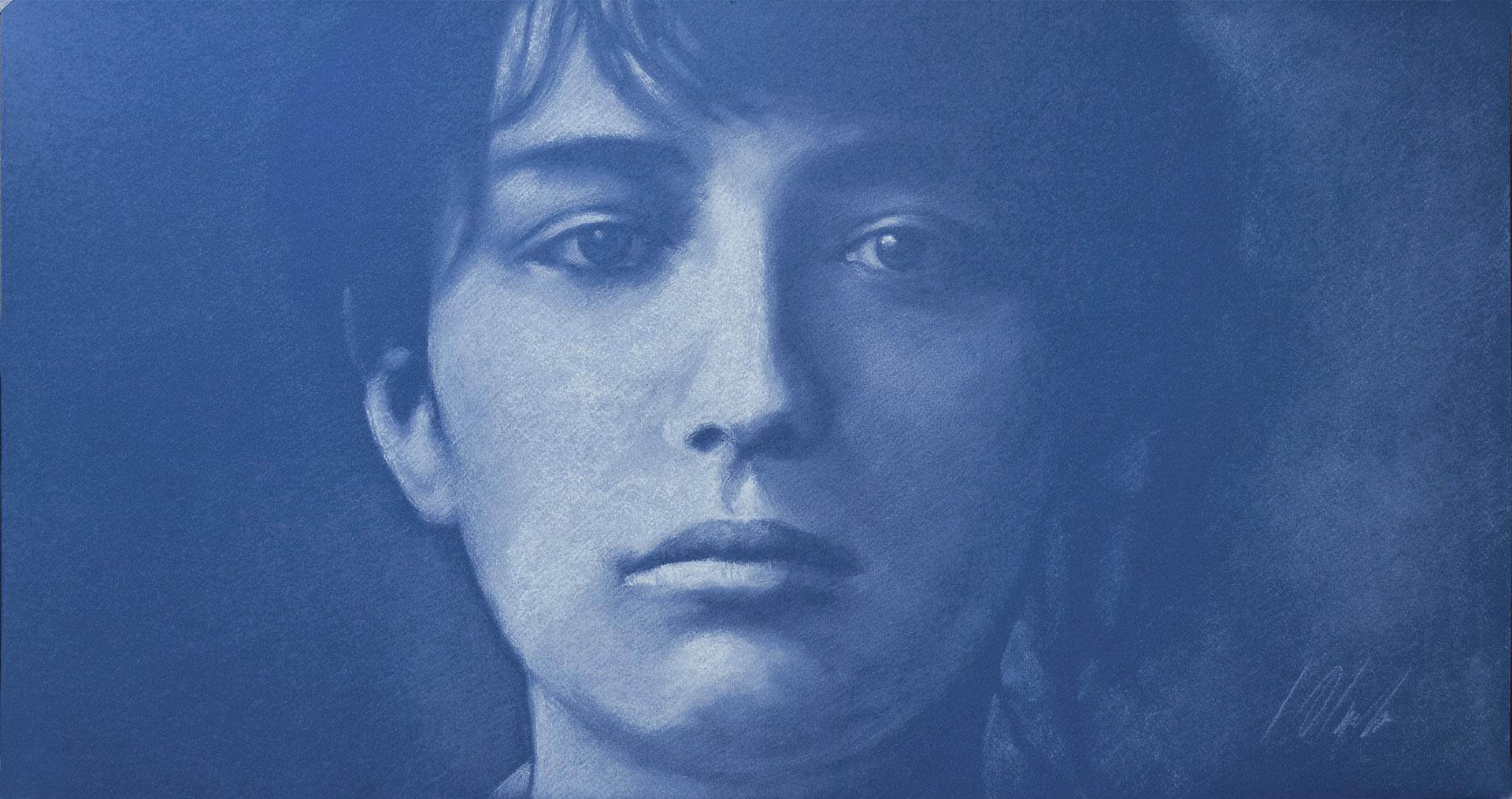 Retrato de Camille Claudel.  Javier Olmedo, pastel blanco sobre papel azul de 70 x 40 cm. Año 2016. PV 165 €