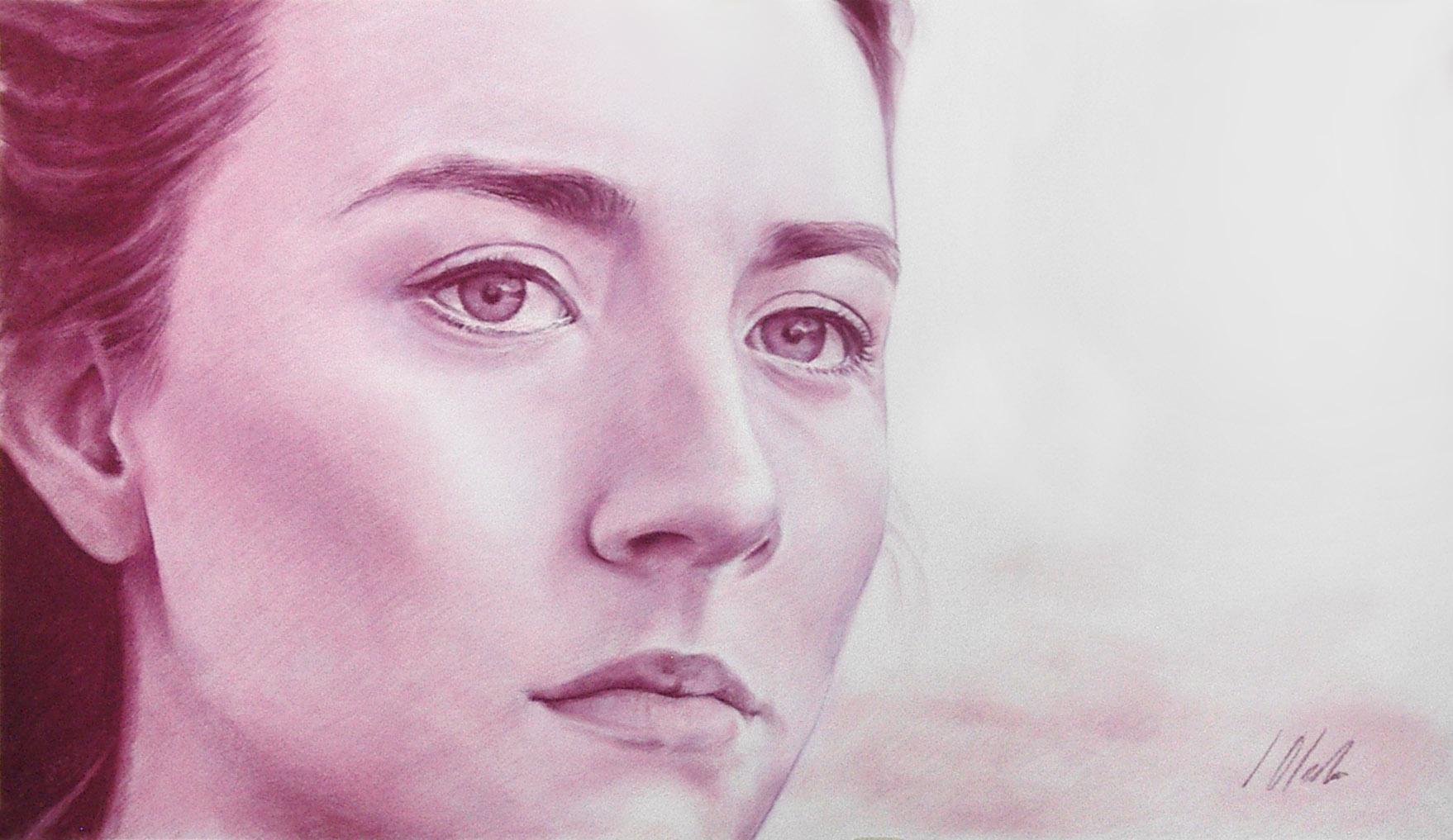 Retrato en rosa y magenta. Pastel, 70 x 40cm. Javier Olmedo, año 2016. PV 135 €
