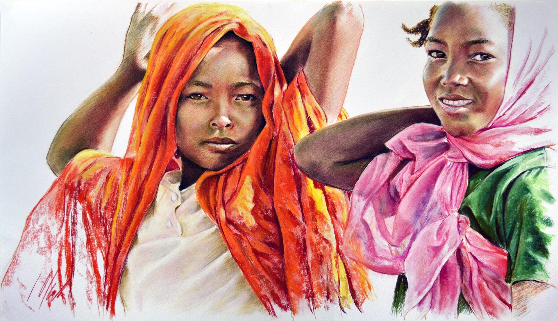 A partir de fotografía de Amnistía Internacional. Pastel, 70 x 40cm. Javier Olmedo, año 2016