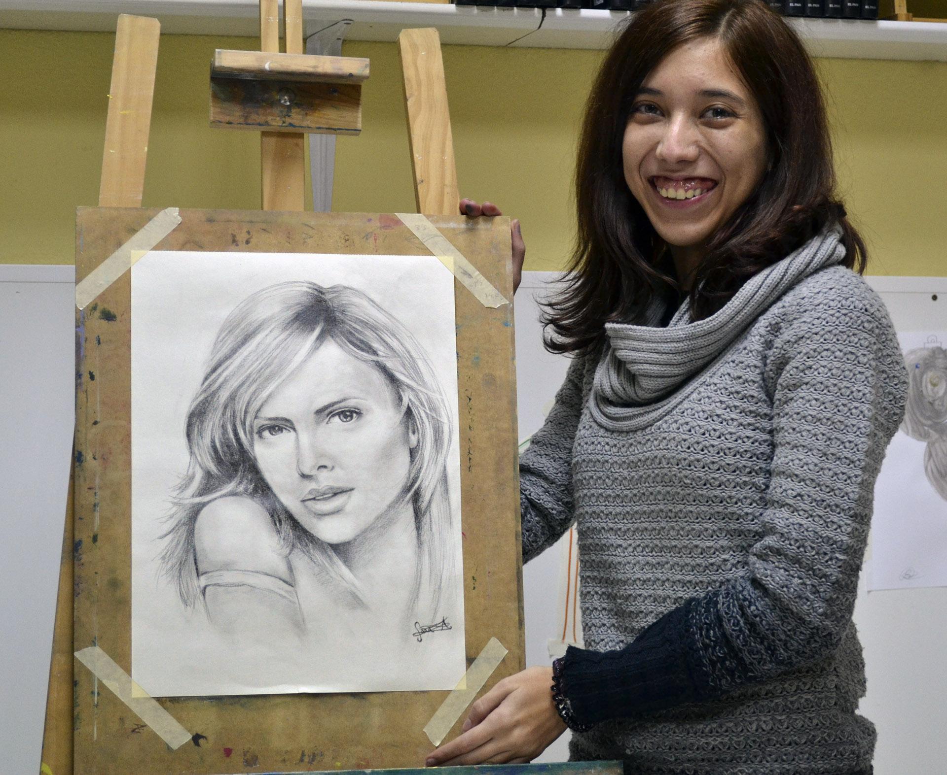 Sara A, grafito. Taller Aceña - Olmedo. Curso 2016 - 2017