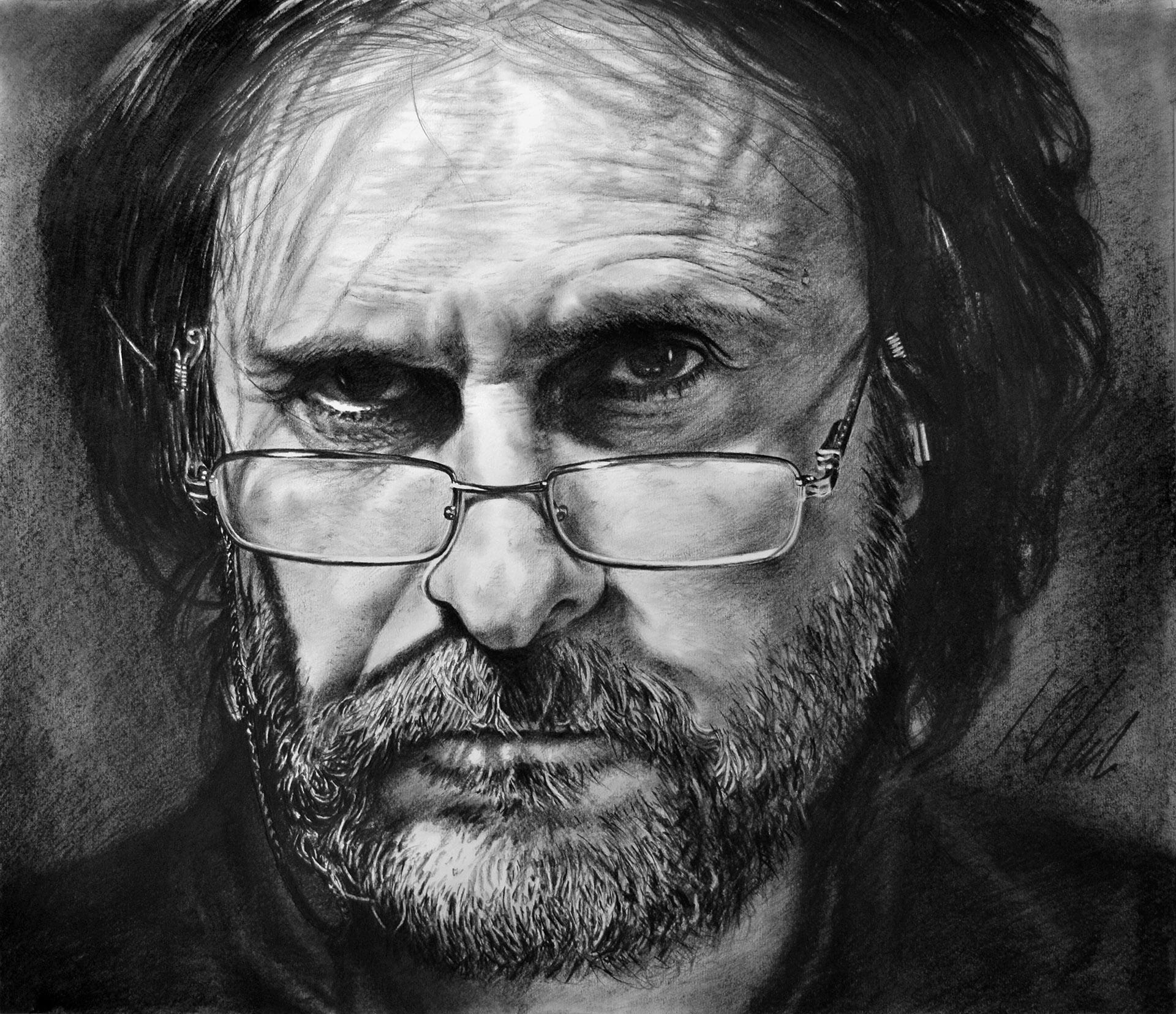 Javier Olmedo, autorretrato en grafito. 58 x 50 cm, año 2017