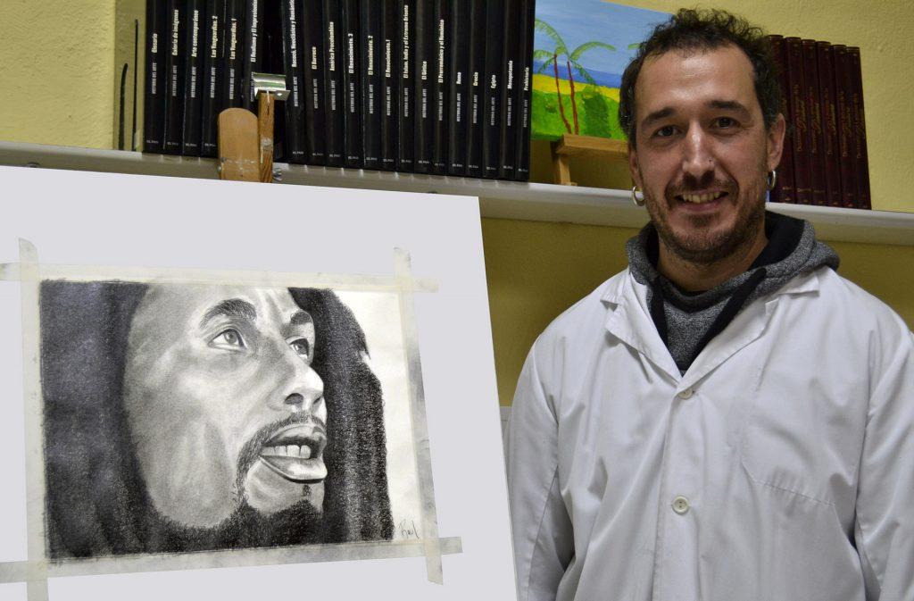Raul, grafito. Taller Aceña - Olmedo. Curso 2016 - 2017