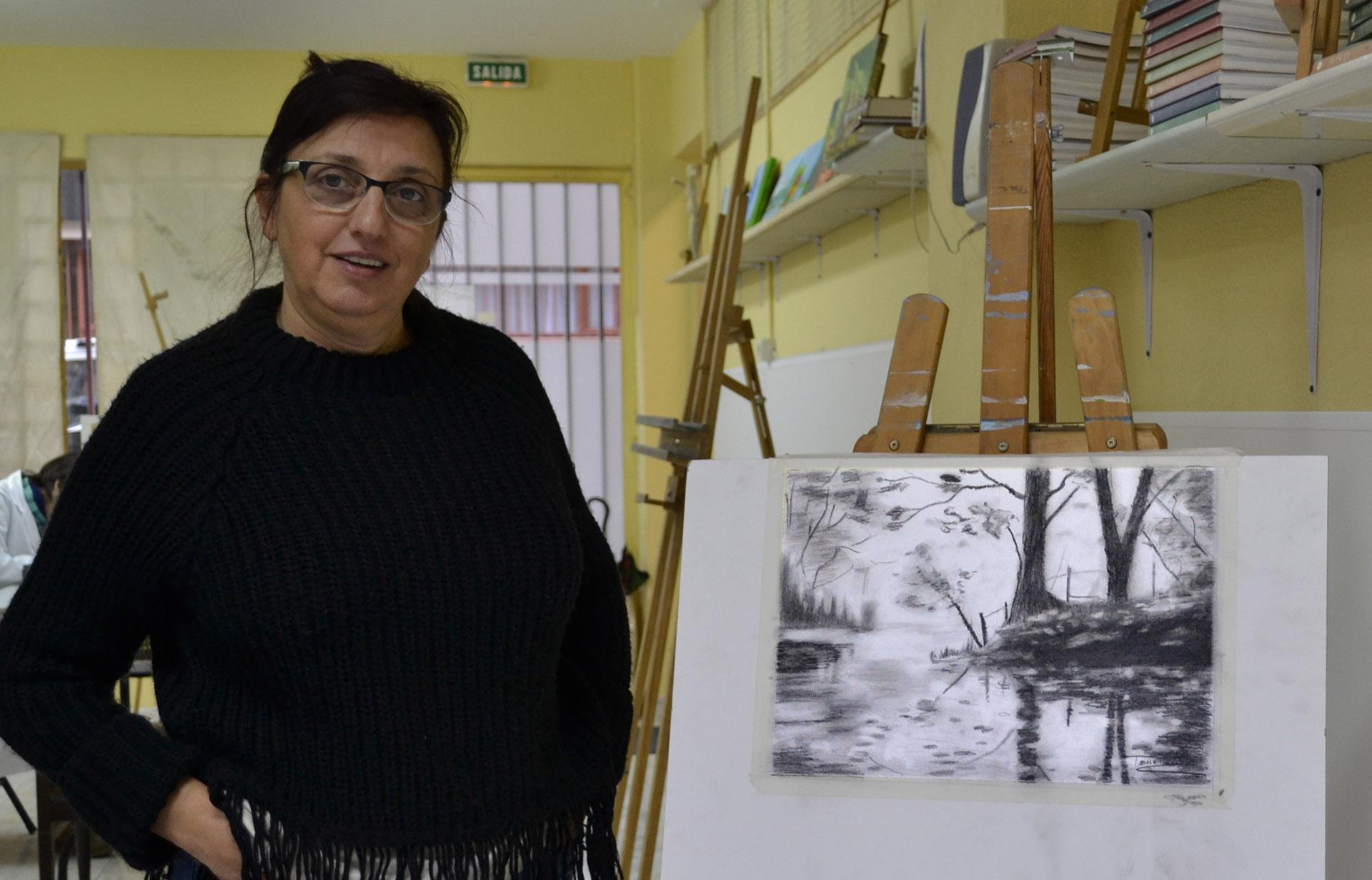 Teresa R, grafito. Taller Aceña - Olmedo. Curso 2016 - 2017