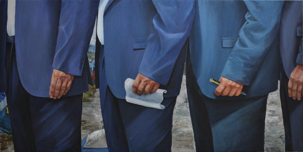 Serie Manos X. Pilar Aceña, óleo sobre lienzo, 120 x 60 cm. 2017