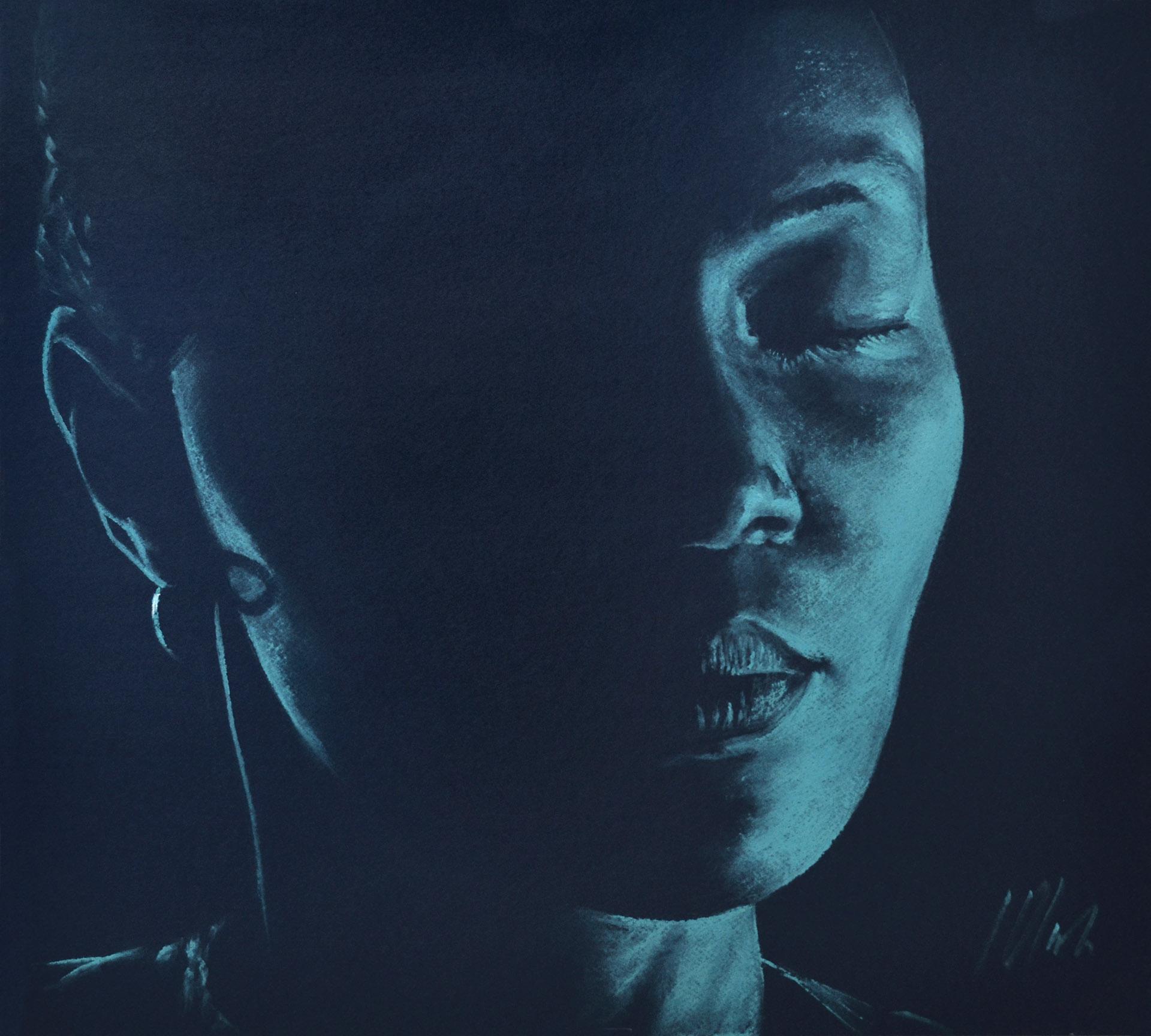 Javier Olmedo, pastel turquesa sobre azul oscuro. 50 x 45 cm. 2017. PV 155 €