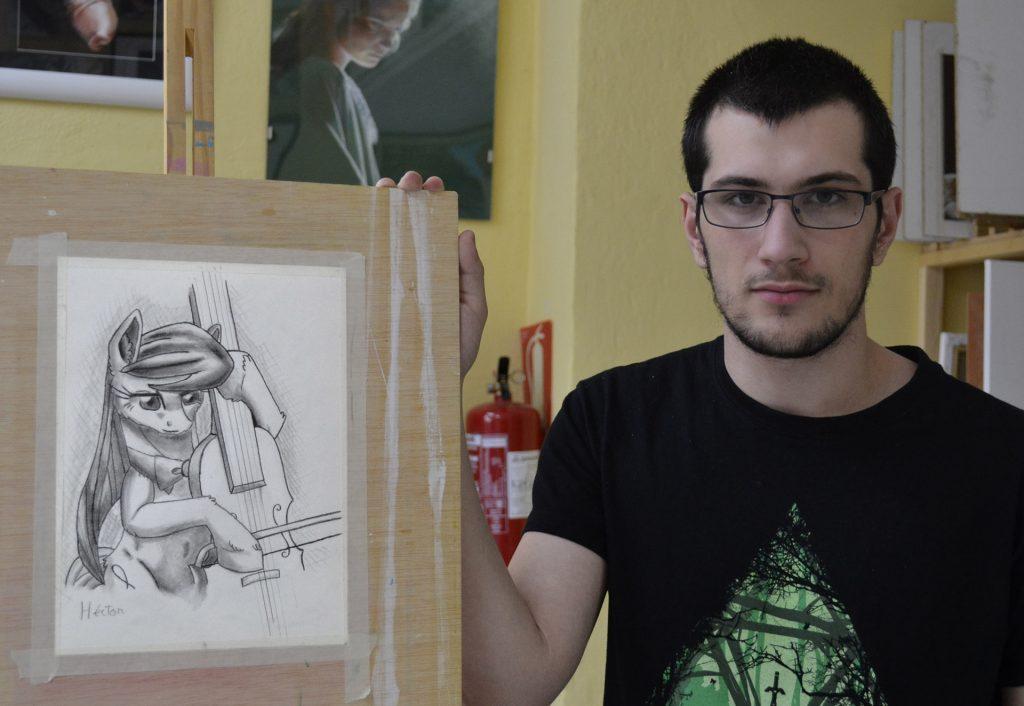Héctor, grafito. Taller Aceña - Olmedo. Curso 2016 - 2017