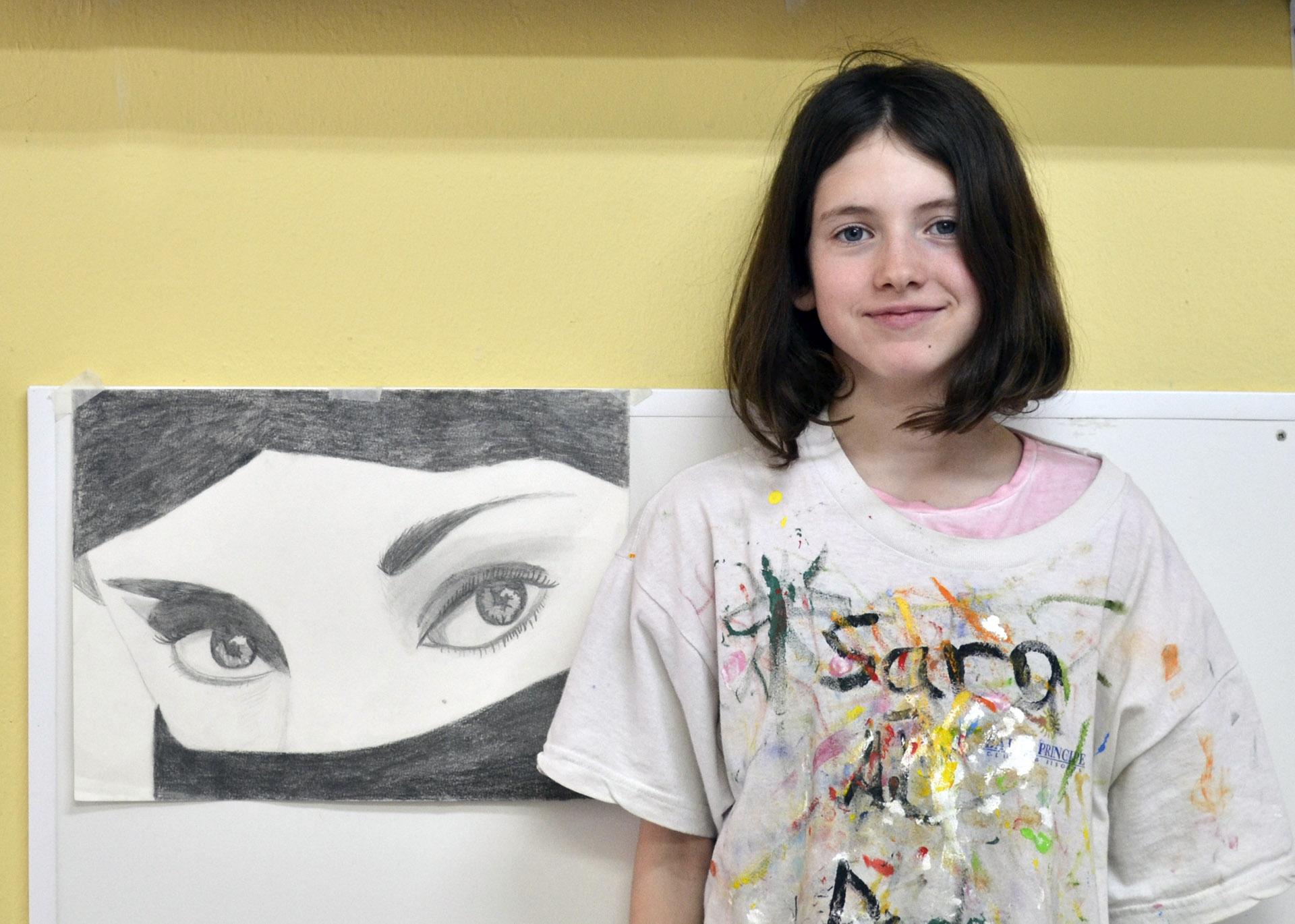 Sara, grafito. Taller Aceña - Olmedo. Curso 2016 - 2017