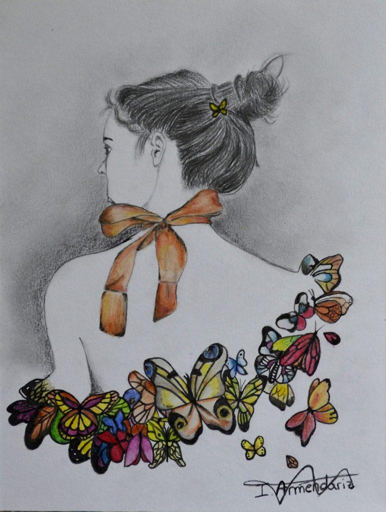 Irune, grafito y lápices acuarelables. Taller Aceña - Olmedo. Curso 2016 - 2017