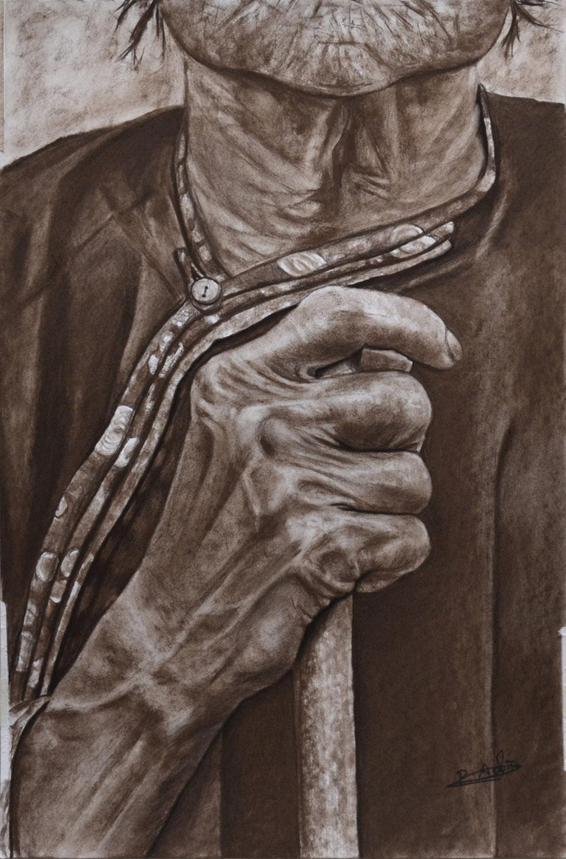 Serie Manos XV. Pilar Aceña. sanguina. 30,5x45 cm. Año 2017