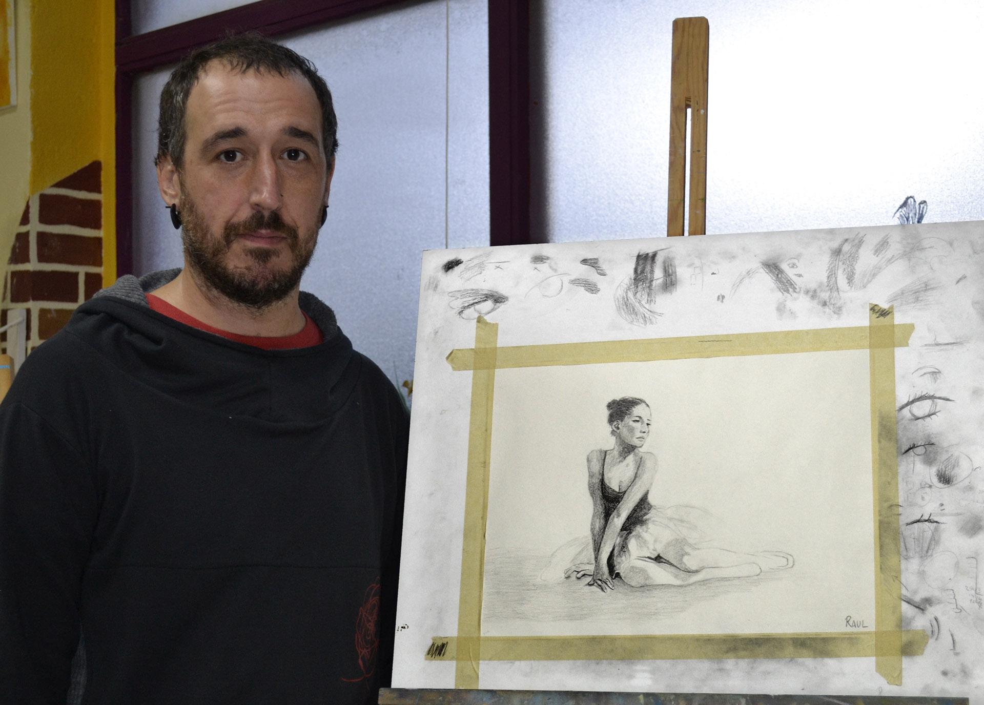 Raul, grafito. Taller Aceña - Olmedo. Curso 2017 - 2018
