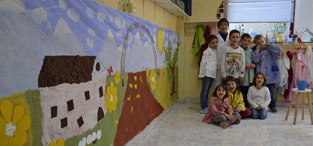 Mural infantil en el taller de dibujo