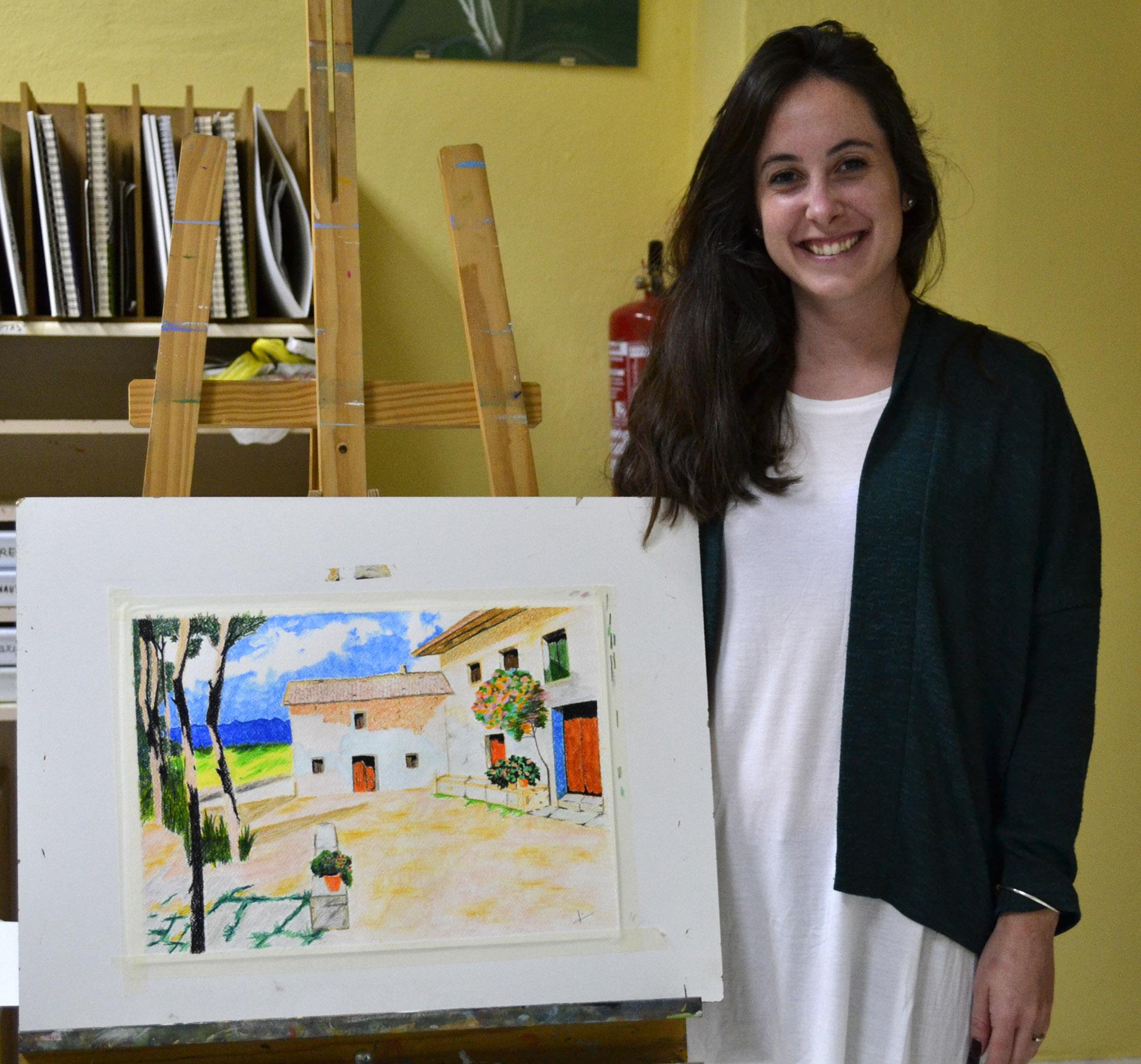 María, lápices acuarelables. Taller Aceña-Olmedo, curso 2017-2018