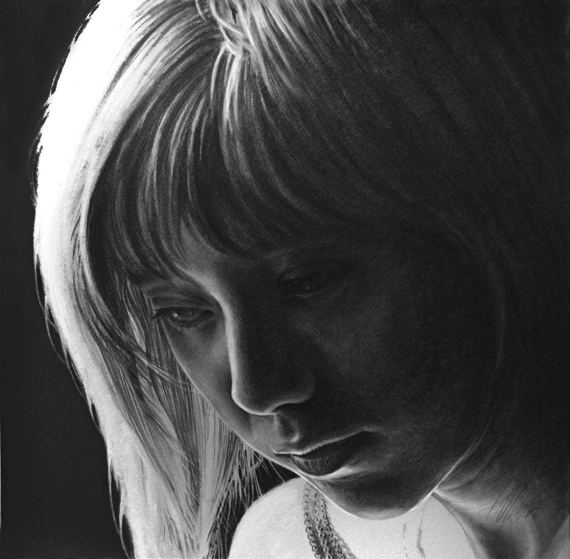 Sara. Javier Olmedo, grafito. 35 x 35 cm. Año 2017