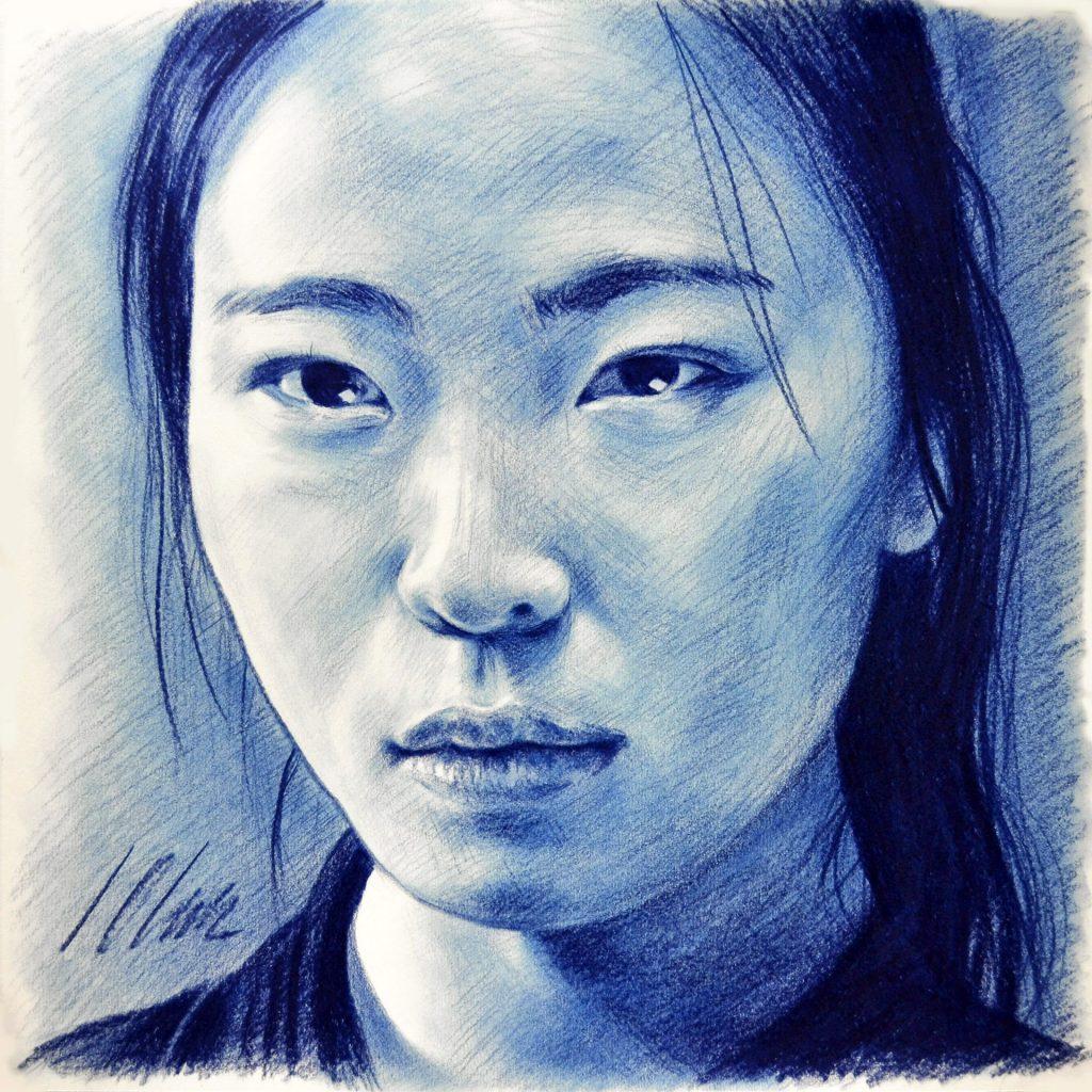 Dibujo en lápiz azul graso. 43 x 43 cm. Javier Olmedo, 2018