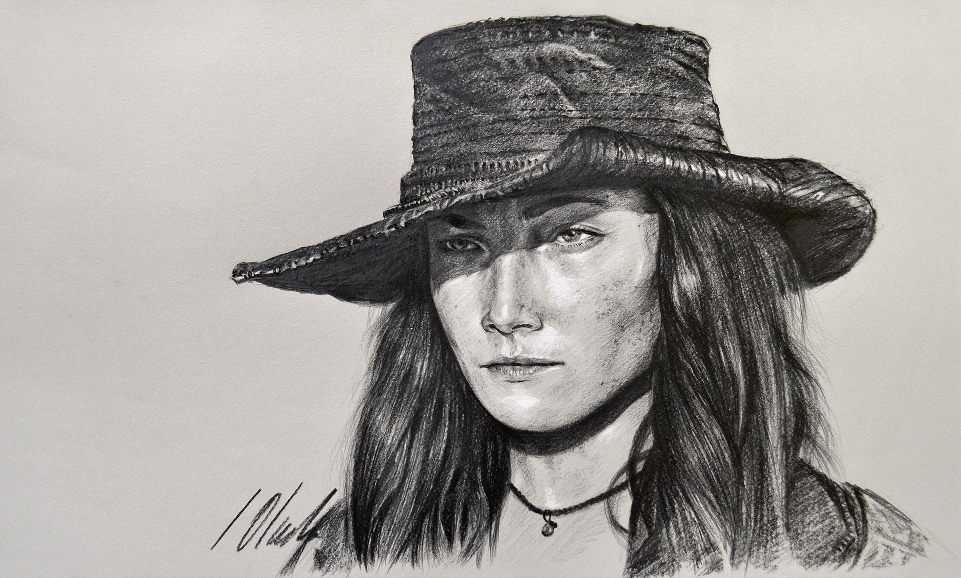 Anne Bonny. Javier Olmedo, dibujo en grafito. 50 x 30 cm. 2018