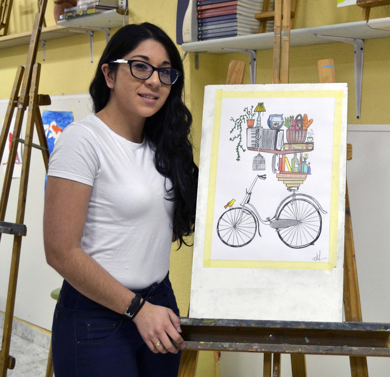 Vanessa, lápices de colores. Taller Aceña-Olmedo, curso 2017-2018