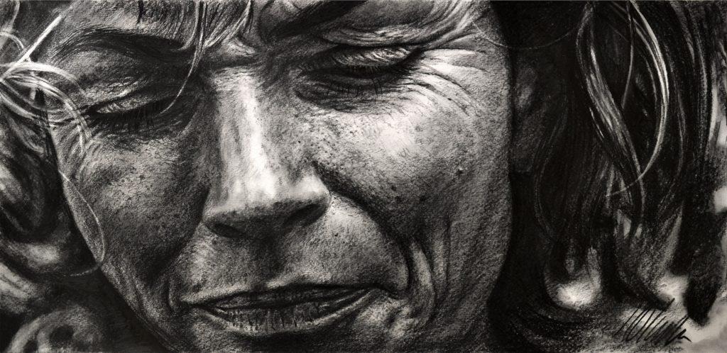 Javier Olmedo, dibujo en grafito. 50 x 24 cm. 2018
