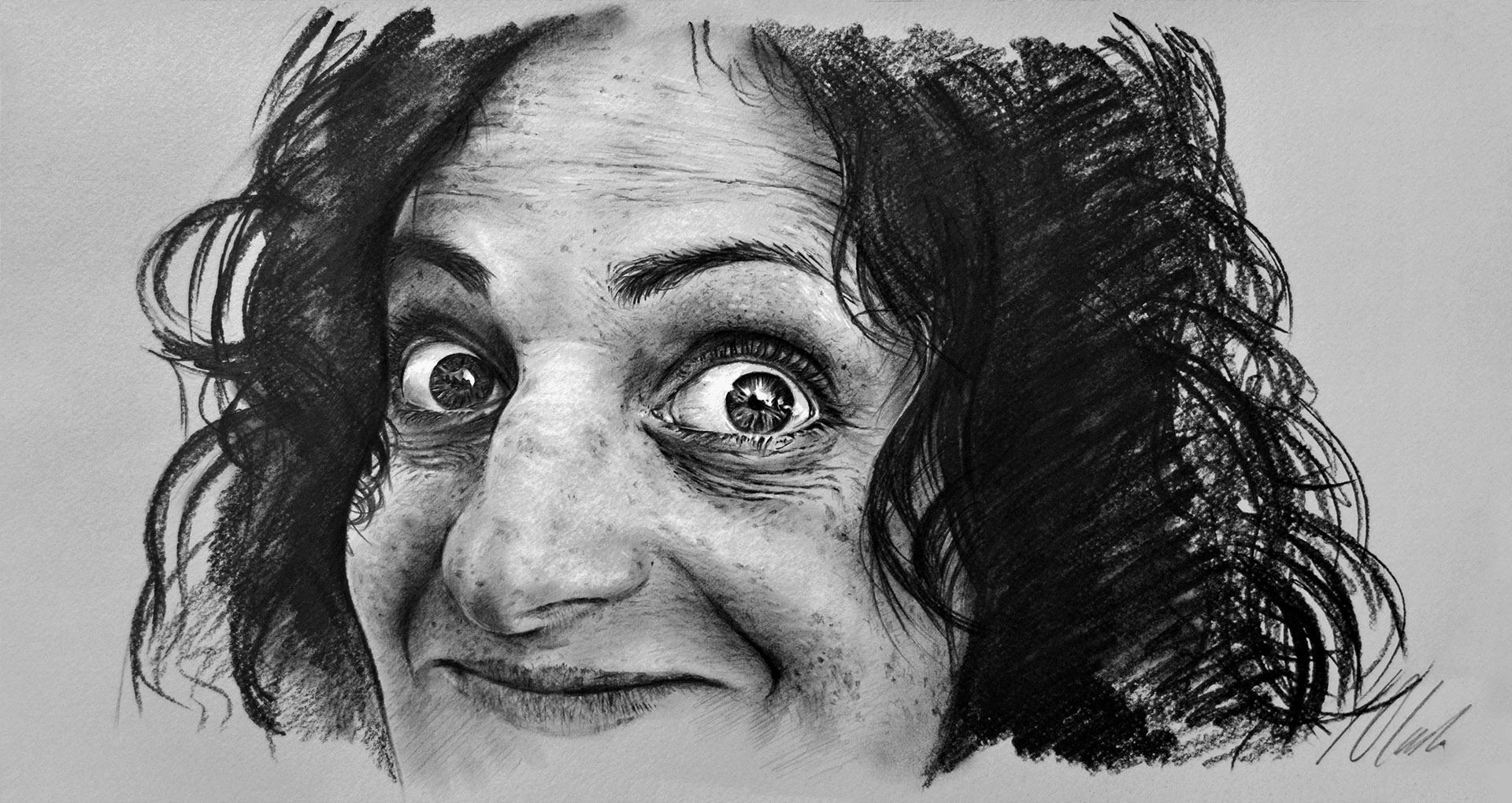 Javier Olmedo, caricatura en grafito. 50 x 26 cm. 2018