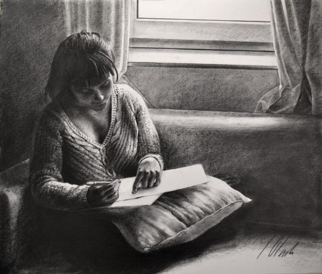 Javier Olmedo, dibujo en grafito. 50 x 40 cm. 2018