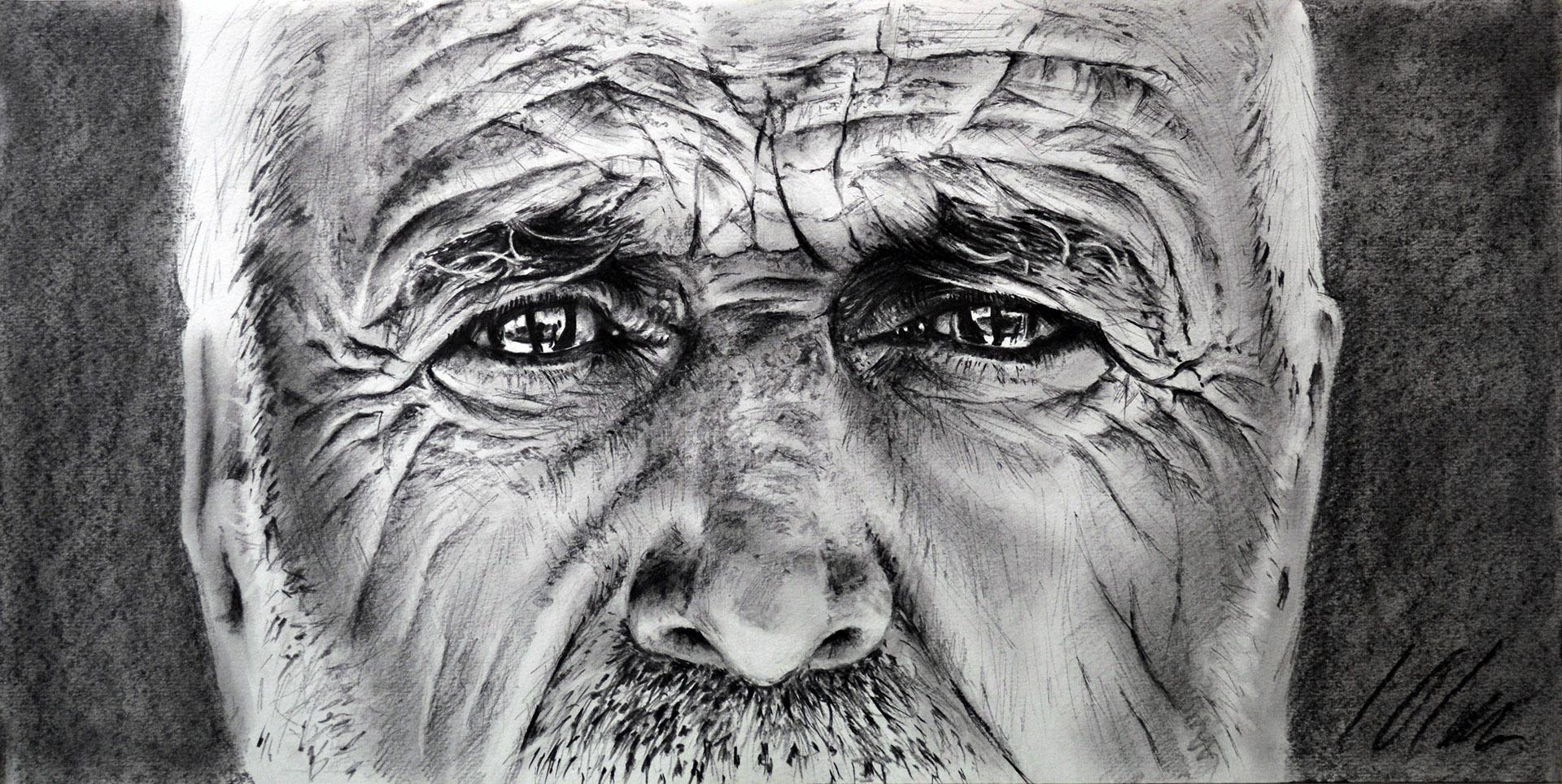 Ibrahim. Javier Olmedo, grafito, 50 x 26 cm. A partir de la fotografía de portada de la revista ACNUR 2018-1. © ACNUR/ A. Chnkdjl