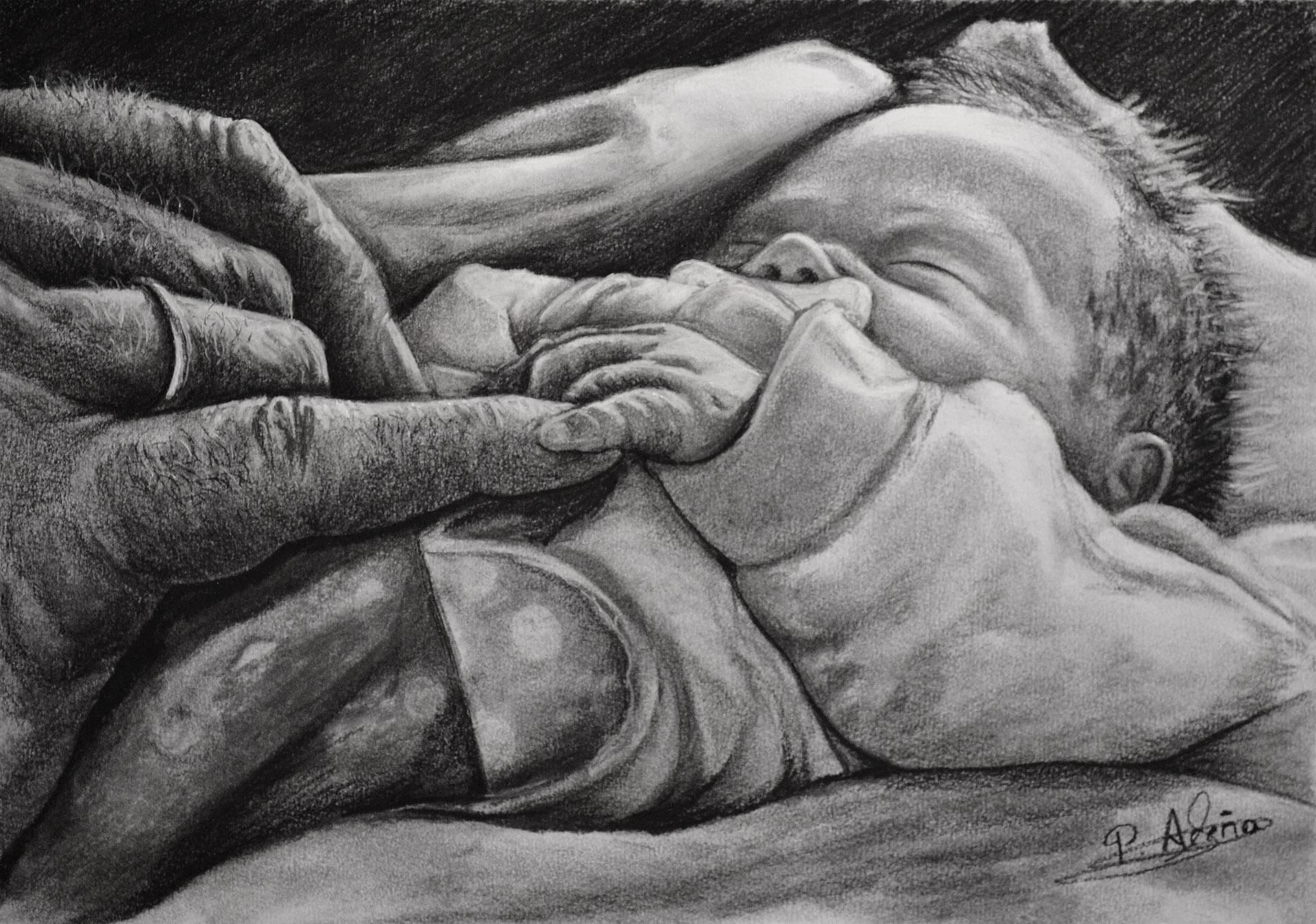 Serie Manos XVI. Pilar Aceña, carboncillo, 30 x 21 cm. Año 2018