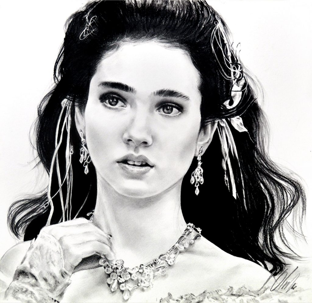 Jennifer Connelly - Labyrinth. Javier Olmedo, grafito. 40 x 40 cm, año 2018