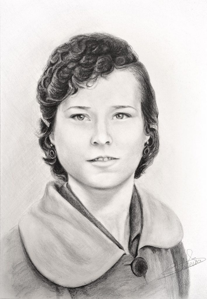 Retrato en grafito, Pilar Aceña. 30 x 40 cm. Año 2018