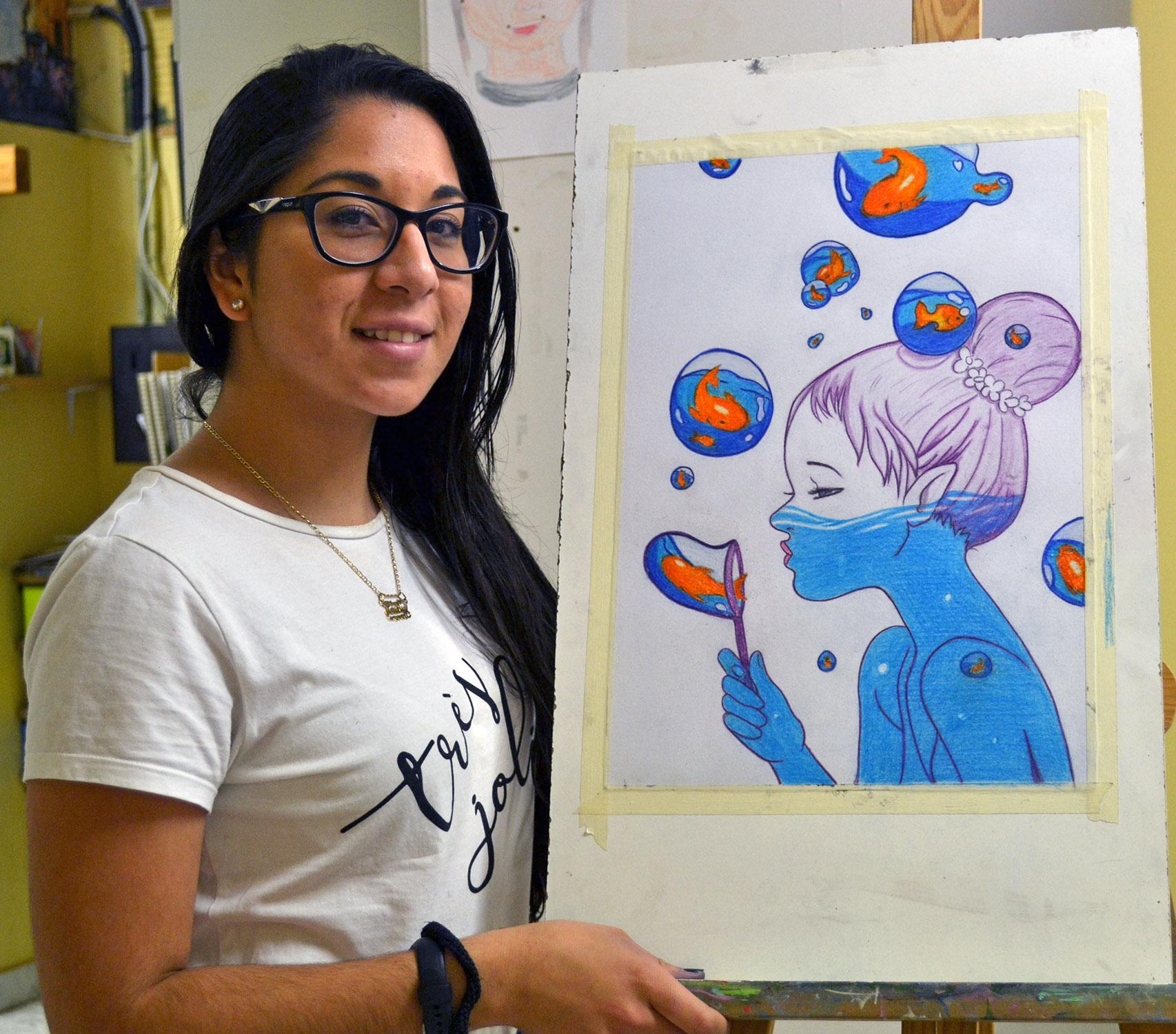 Vanessa, lápices color. Taller Aceña - Olmedo, curso 2018-2019
