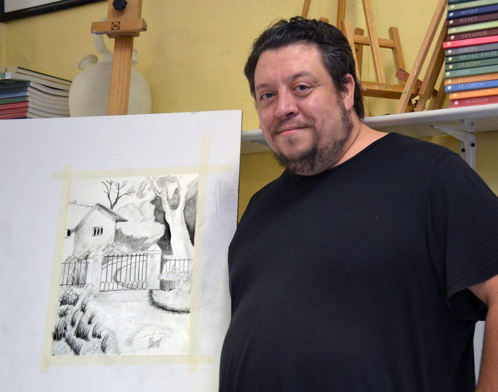 Rubén, grafito. Taller Aceña - Olmedo, curso 2018-2019