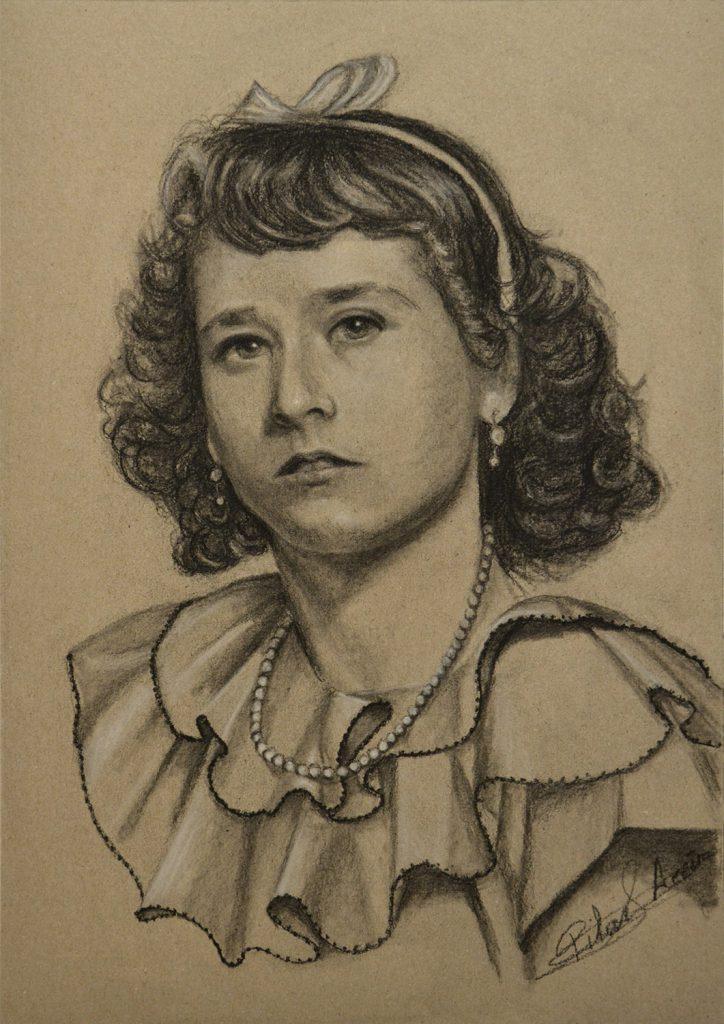 Pilar Aceña, retrato en carboncillo. 30 x 40 cm. Año 2018