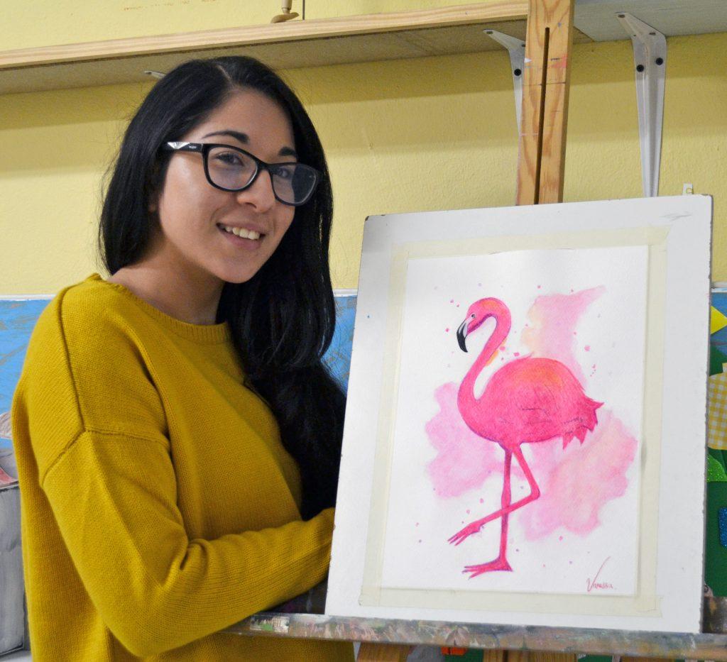 Vanessa, acuarela. Taller Aceña - Olmedo, curso 2018-2019