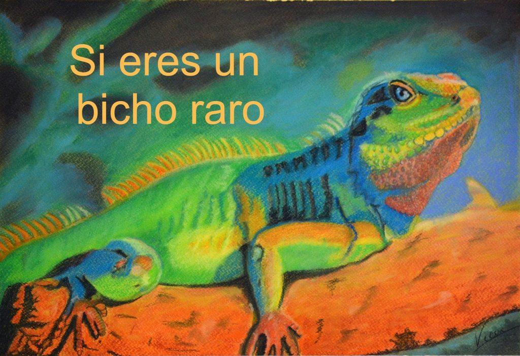 Dibujo al pastel de Vicenta. Iguana en colores vivos
