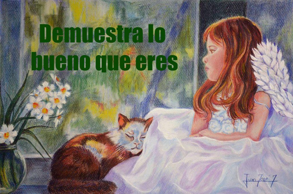 Dibujo al pastel de Juanjo.  Angelito con gato ¡Demuestra lo bueno que eres!