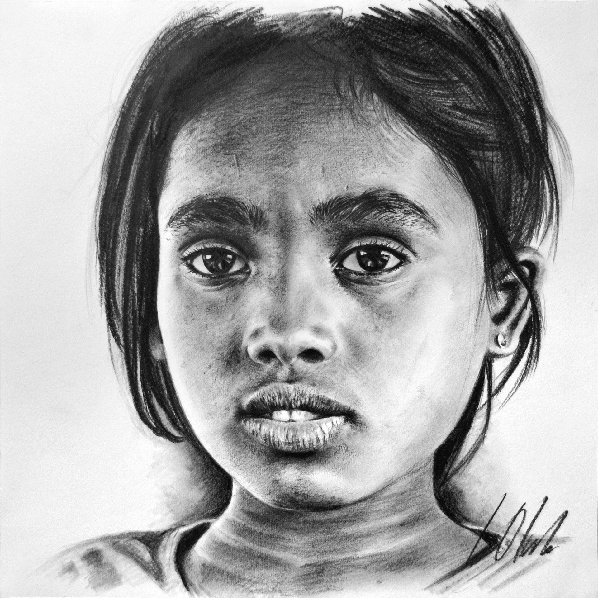 Jasmin. Retrato en grafito, 35 x 35 cm. Javier Olmedo, 2019. A partir de fotografía de R. Arnold, © ACNUR