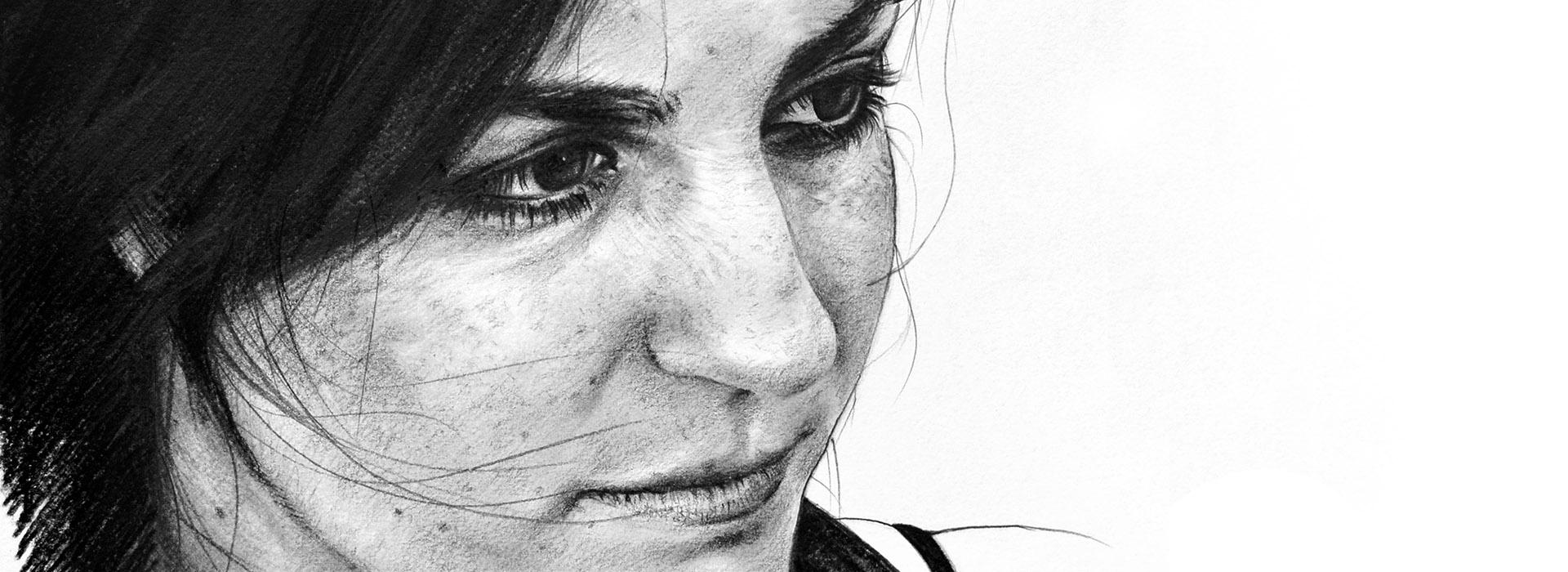 Dibujo a lápiz, retrato femenino. Javier Olmedo