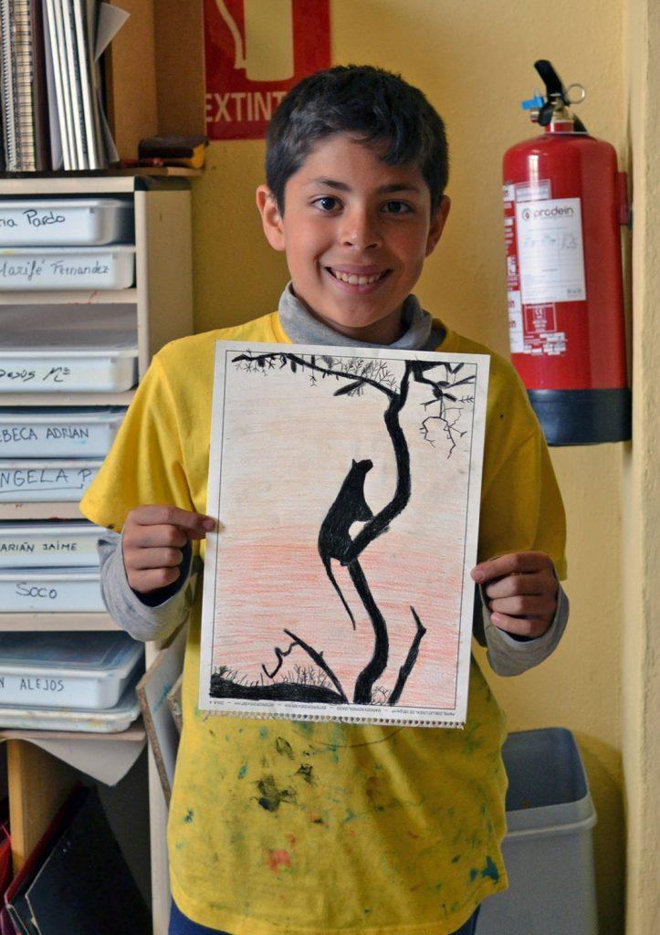 Miguel, lápices de colores. Taller Aceña - Olmedo, curso 2018-2019