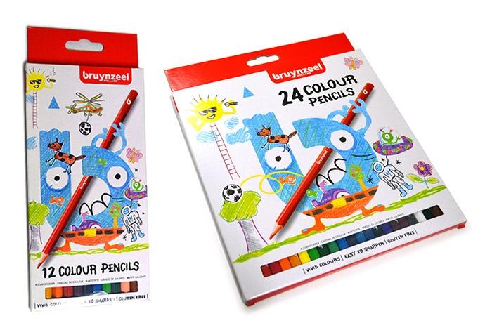 Cajas de 12 y 24 lápices color Bruynzeel infantil