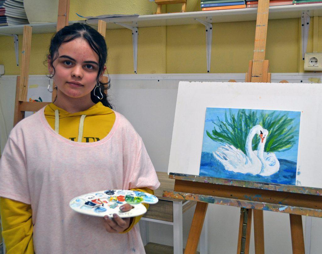 Gabriela, acrílico. Taller Aceña - Olmedo, curso 2018-2019
