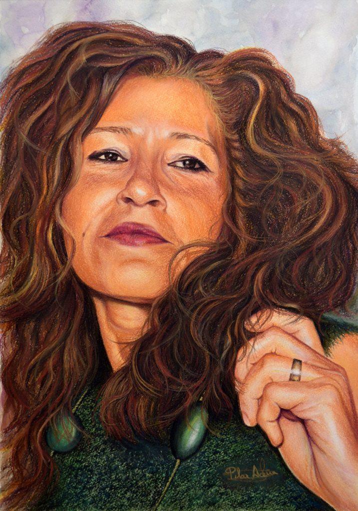 Pilar Aceña, retrato al pastel. 30 x 50 cm. 2019