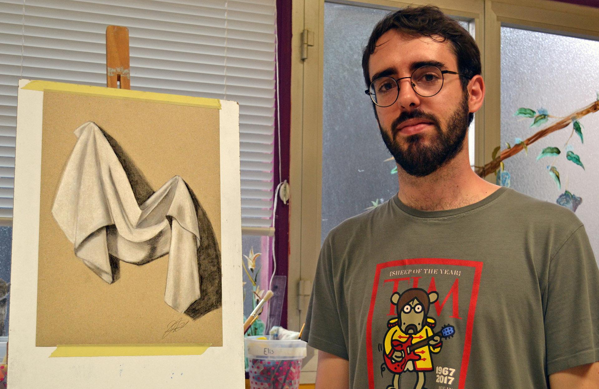 Javier, tiza y carboncillo. Taller Aceña - Olmedo, curso 2018-2019