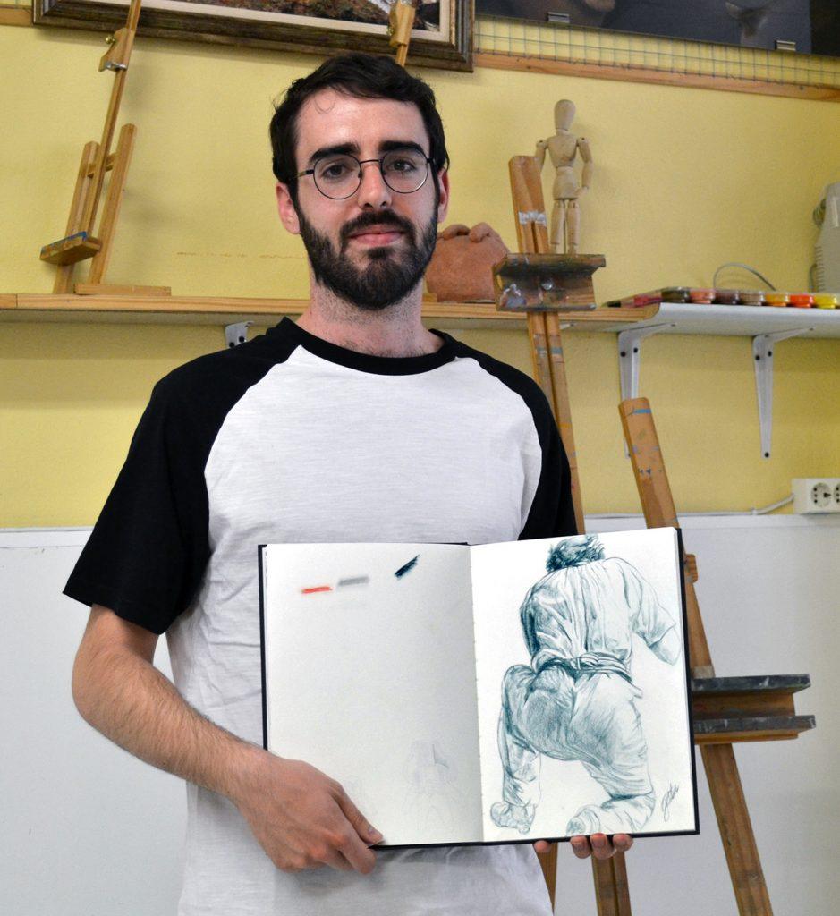Javier, grafito. Taller Aceña - Olmedo, curso 2018-2019