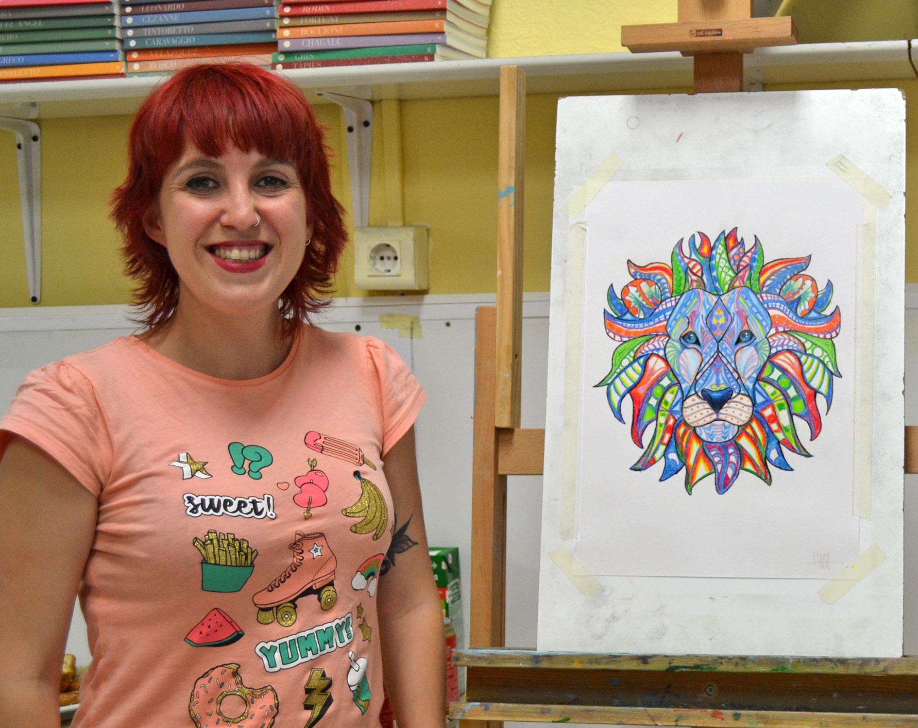 Paula, lapices de color. Taller Aceña - Olmedo, curso 2018-2019