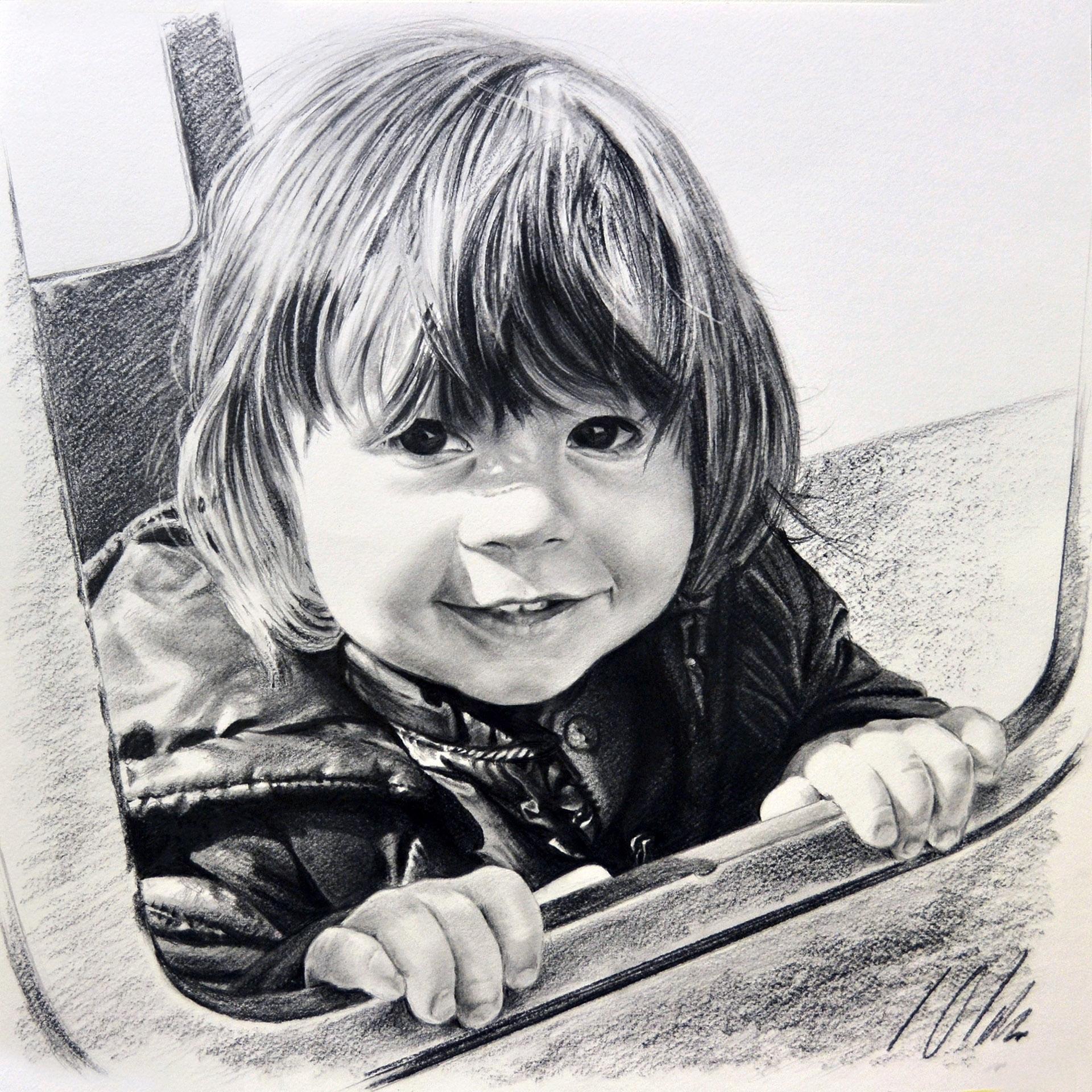 Daniela. Retrato en grafito, 35 x 35 cm. Javier Olmedo